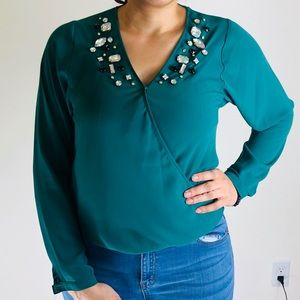 Green Jeweled Blouse